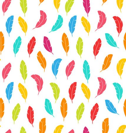 modern wallpaper: Illustration Seamless Pattern of Multicolored Feathers for Modern Wallpaper Textile - Vector