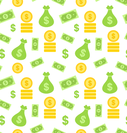 banknote: Illustration Seamless Texture with Money Bag, Bank Notes, Coins - Vector