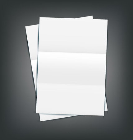 Illustration Two Empty Paper Sheet with Shadows, on gray background - vector Vector