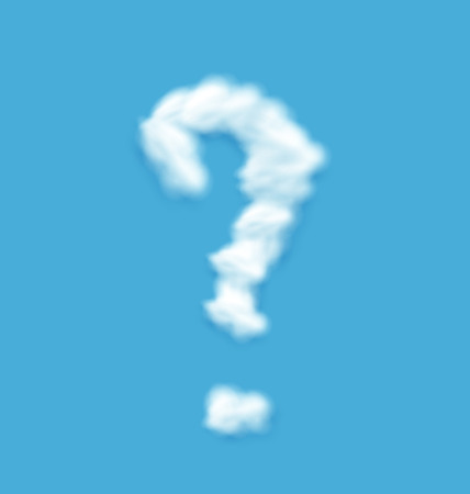 Question Mark Shaped Cloud on Blue Sky Background - vector Vector