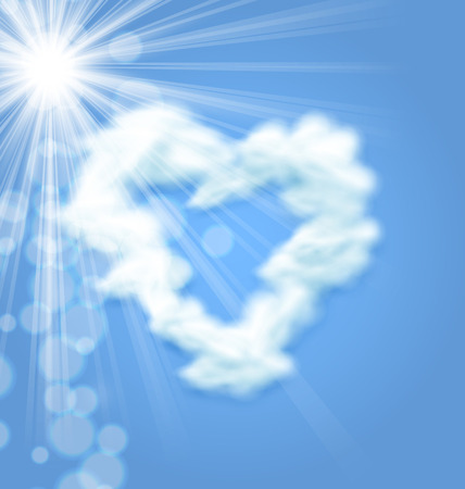 love cloud: Sun Fluffy Cloud Shape Heart Love Symbol Blue Sky - vector