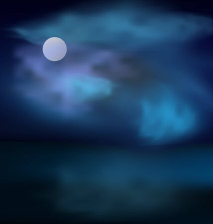 Moon and clouds above the sea on the background of dark stormy skies - vector Illustration