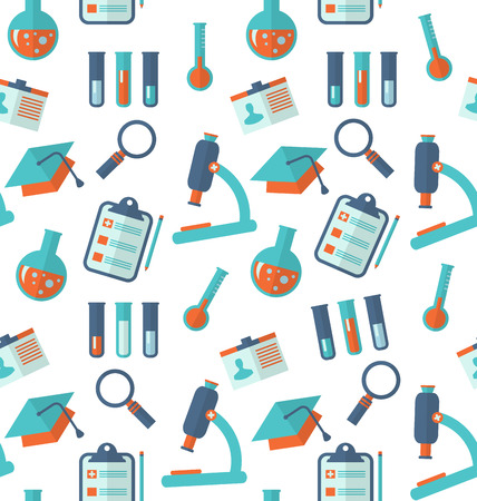 Illustration Chemical Seamless Pattern with Different Laboratory Objects, Scientific Wallpaper - Vector