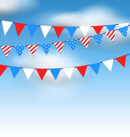 Illustration Hanging Bunting Pennants in National American Colors for Holidays, Blue Sky with Clouds - Vector Vector