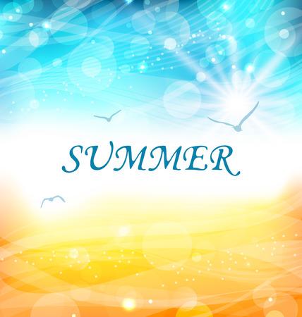 summer landscape: Illustartion Summer Holiday Background, Glowing Wallpaper - Vector Illustration