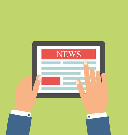 business news: Illustration Businessman Reading Business News on Tablet PC, Minimal Flat Style - Vector Illustration
