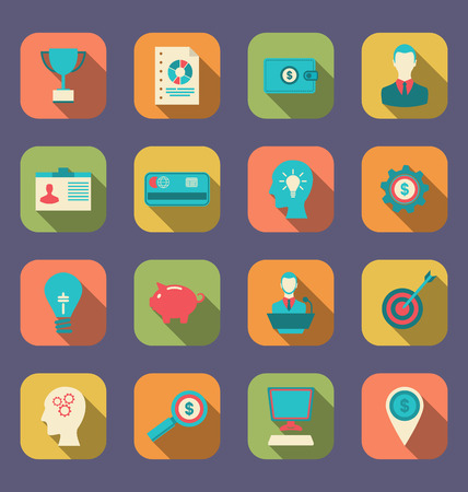 design objects: Illustration Flat Colorful Icons of Web Design Objects, Business, Office and Marketing Items - Vector