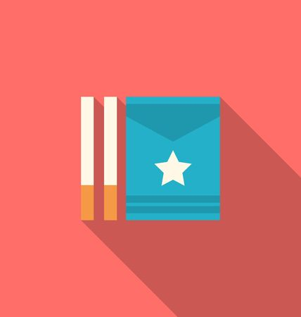 habit: Illustration Package Boxes and Cigarettes with Long Shadows, Minimal Flat Icons - Vector
