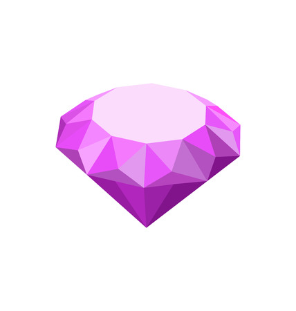 faceting: Illustration Purple Diamond Isolated on White Background - Vector