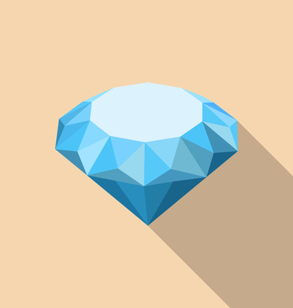 faceting: Illustration Flat Icon of Diamond with Long Shadow - Vector