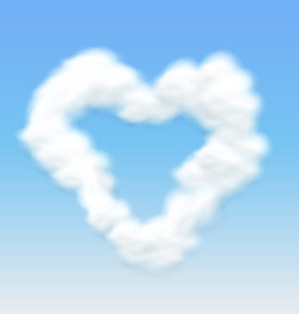 fluffy clouds: Fluffy Clouds Shaped Heart Border on Blue Sky Background - vector Illustration