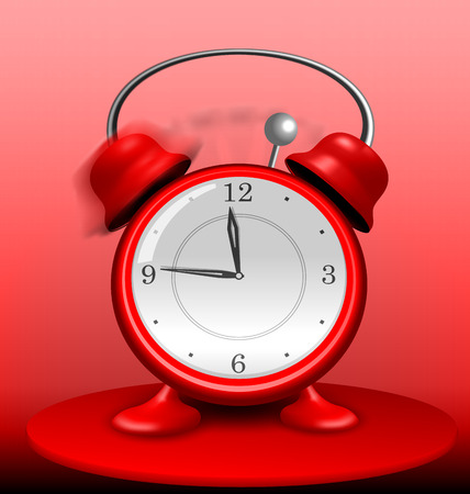 grumble: Illustration close-up on the Table is a Red Alarm Clock Ringing Wildly - vector