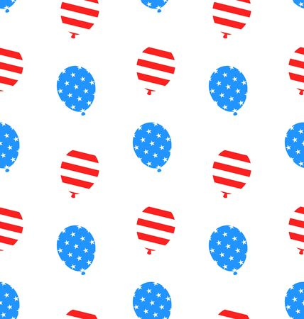 national colors: Illustration Seamless Texture Balloons for Independence Day of America, US National Colors - Vector Illustration