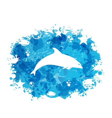 Illustration Grunge Blue Colorful Frame with Jumping Dolphin - Vector Vector