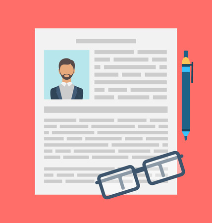 Illustration Rédaction d'un CV d'affaires Concept de CV, icone plat du document, stylo, lunettes - vecteur