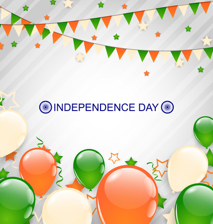 Illustration Indian Decoration in Traditional Tricolor of Flag for Independence Day, Buntings Flags Garlands and Balloons - Vector