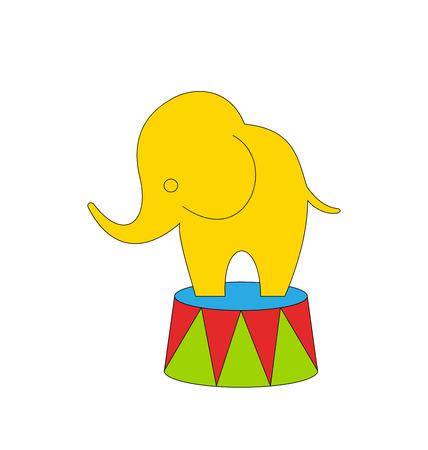 그림 만화 서커스 코끼리 흰색 배경에 - 벡터 절연 일러스트