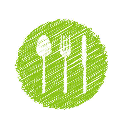 veg: Illustration Green Vegetarian Restaurant Sign with Cutlery