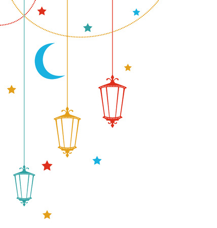 Illustration Ramadan Kareem Background with Colorful Lamps, Crescents and Stars