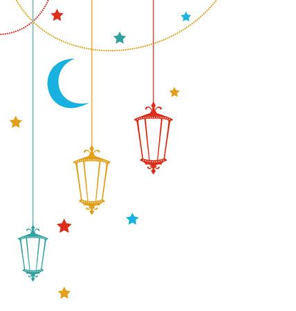 Illustratie Ramadan Kareem Achtergrond met kleurrijke lampen, halve manen en sterren Stock Illustratie