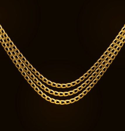 necklet: Illustration Beautiful Golden Chains Isolated on Black Background