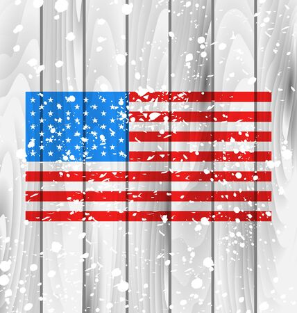 Illustration American Grunge Background with Flag for Independence Day, Wooden Texture Vector