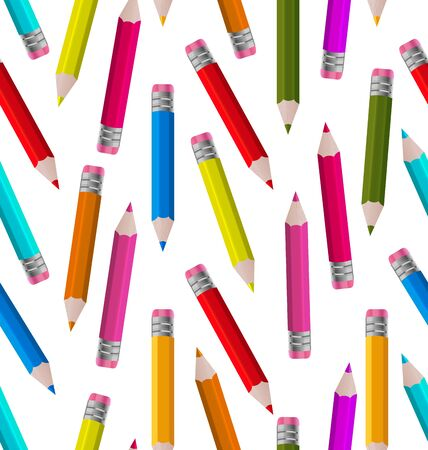 Illustration Seamless Wallpaper with Colorful Pencils Vector