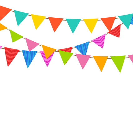 Illustration Set Bunting Pennants with Ornamental Texture  イラスト・ベクター素材
