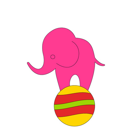 Illustration Baby Circus Elephant Balancing on Ball, Isolated on White Background