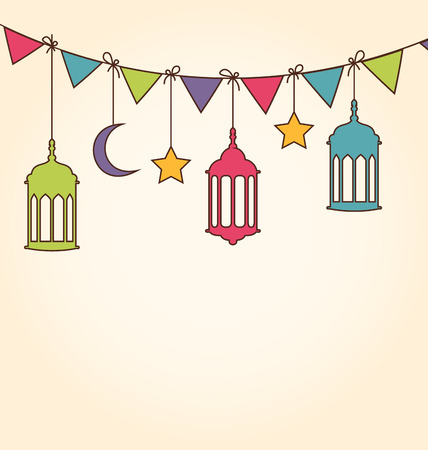 Illustration Background for Ramadan Kareem with Colorful Hanging Lamps and Bunting Pennants Vector