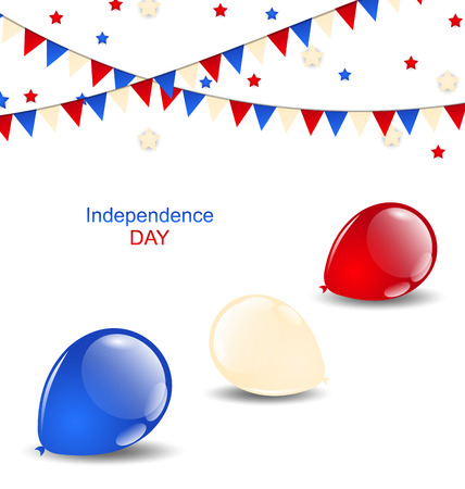 Illustration colorful balloons in american flag colors Vector