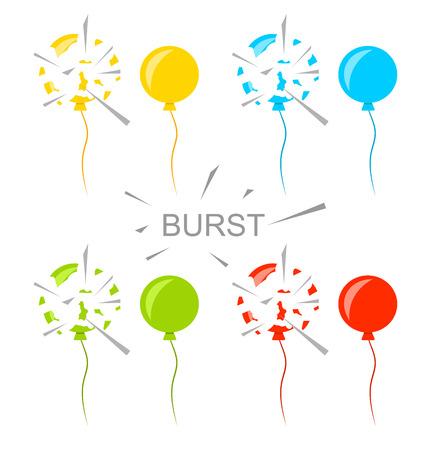 popped: Illustration Set Colorful Popped Balloons Isolated on White Background Illustration