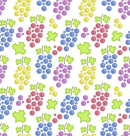 vintage texture: Illustration Seamless Pattern with Colorful Bunches of Grape, Vintage Texture
