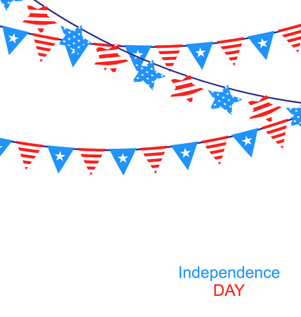 independent day: Hanging Bunting Garlands in National American Independent Day