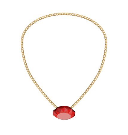 red diamond: Illustration Jewelry Golden Chain with Red Diamond