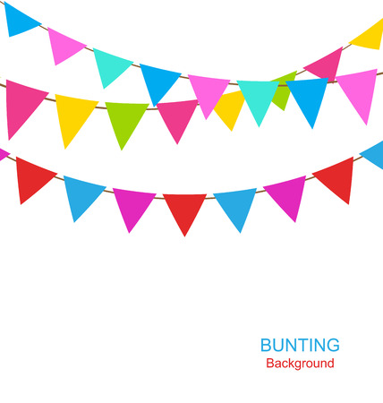 Illustration Set Colorful Buntings Flags Garlands for Holiday