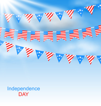 Illustration Bunting Flags Pennants in Traditional American Colors for Independence Day Vector