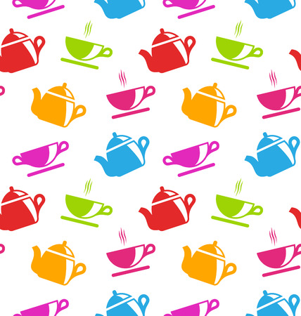 teacups: Illustration Seamless Texture with Teapots and Teacups, Colorful Wallpaper Illustration
