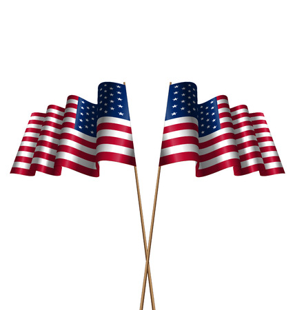 symbolic: Illustration Two Flags USA Waving Wind as Symbolic for Independence Day 4 th of July, Isolated on White Background