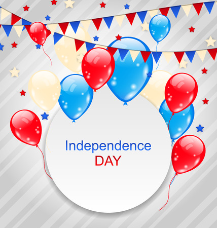 Illustration Celebration Card with Balloons and Hanging Bunting Pennants in American Flag Colors for Independence Day Vector