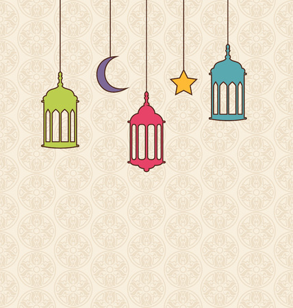 Illustration Islamic Background with Arabic Hanging Lamps for Ramadan Kareem