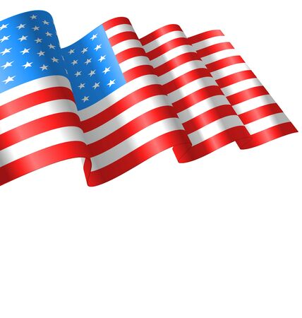 symbolic: Flags USA Waving Wind and Ribbon for Independence Day 4th Patriotic Symbolic Vintage Decoration for Holiday or Celebration Backgrounds