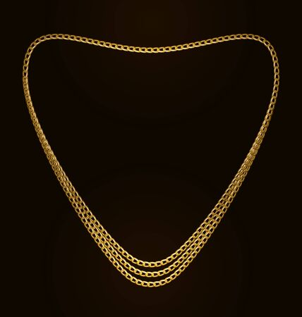 necklet: Illustration Beautiful Golden Chain of Heart Shape