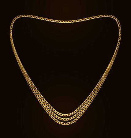 necklet: Illustration Beautiful Golden Chain of Heart Shape