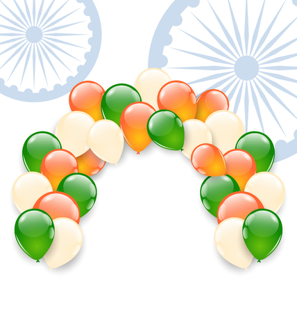 tricolor: Illustration Balloons in National Tricolor of Indian Flag for Holidays, Copy Space for Your Text - raster