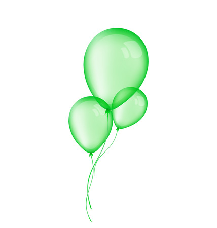 green balloons: Illustration three green balloons isolated on white background - raster
