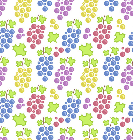 bunches: Illustration Seamless Pattern with Colorful Bunches of Grape, Vintage Texture - raster