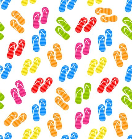 pairs: Illustration Seamless Pattern Colorful Pairs of flip-flops, Summertime Background - raster