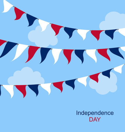 Flags USA Set Bunting Red White Blue for Independence Day 4th of July. Patriotic Symbolic Decoration for Celebration Backgrounds - raster photo