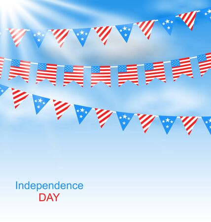 Illustration Bunting Flags Pennants in Traditional American Colors for Independence Day - raster illustration